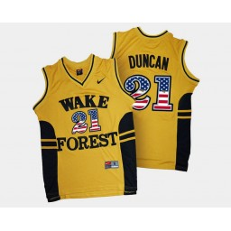 Wake Forest Demon Deacons #21 Tim Duncan Gold Alternate USA Flag Authentic College Basketball Jersey
