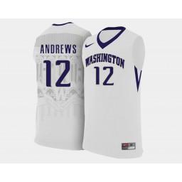 Women's Washington Huskies #12 Andrew Andrews White Home Authentic College Basketball Jersey