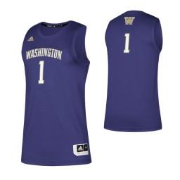 Washington Huskies #1 Basketball Authentic College Basketball Jersey Purple