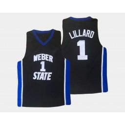 Youth Weber State Wildcats #1 Damian Lillard Black Alternate Authentic College Basketball Jersey