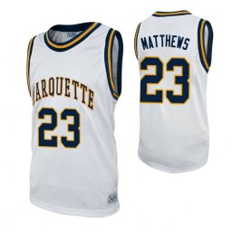 Marquette Golden Eagles #23 Wesley Matthews White Authentic College Basketball Jersey