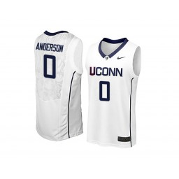 Women's UConn Huskies #0 Antwoine Anderson Authentic College Basketball Jersey White