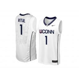 Women's UConn Huskies #1 Christian Vital Authentic College Basketball Jersey White