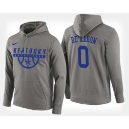 Kentucky Wildcats #0 De'Aaron Fox Gray Hoodie College Basketball