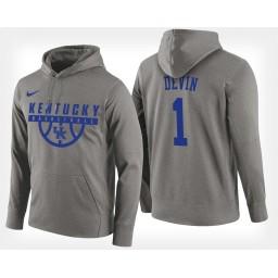 Kentucky Wildcats #1 Devin Booker Gray Hoodie College Basketball