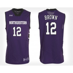 Northwestern Wildcats #12 Isiah Brown Purple Home Authentic College Basketball Jersey