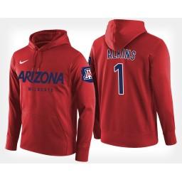 Arizona Wildcats #1 Rawle Alkins Red Hoodie College Basketball