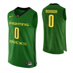 Youth Oregon Ducks #0 Will Richardson Authentic College Basketball Jersey Apple Green