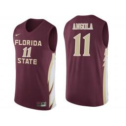 Florida State Seminoles #11 Braian Angola Authentic College Basketball Jersey wine