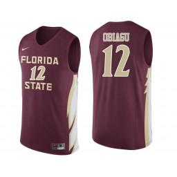 Florida State Seminoles #12 Ike Obiagu Authentic College Basketball Jersey wine