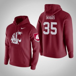 Washington State Cougars #35 Carter Skaggs Men's Wine Pullover Hoodie