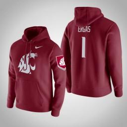 Washington State Cougars #1 Jamar Ergas Men's Wine Pullover Hoodie