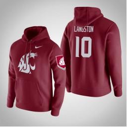 Washington State Cougars #10 KJ Langston Men's Wine Pullover Hoodie