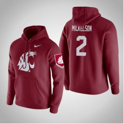 Washington State Cougars #2 TJ Mickelson Men's Wine Pullover Hoodie