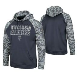 Wisconsin Badgers Charcoal OHT Military Appreciation Digi Camo Hoodie