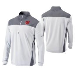 Wisconsin Badgers White Omni-Wick Standard Quarter-Zip Jacket