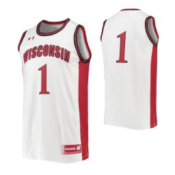 Wisconsin Badgers #1 Authentic College Basketball Jersey White