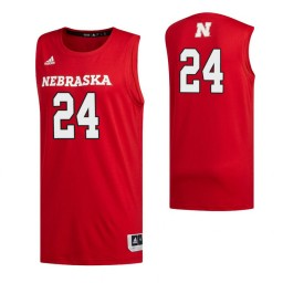 Women's Nebraska Cornhuskers 24 Yvan Ouedraogo Authentic College Basketball Jersey Scarlet