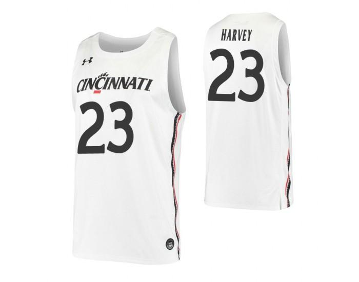 Zach Harvey Authentic College Basketball Jersey White Cincinnati ...