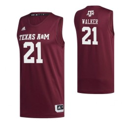 Women's Texas A&M Aggies 21 Zach Walker Authentic College Basketball Jersey Maroon